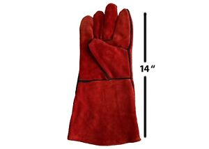 1 Pair Leather Welding Gloves 14 Size Large heat fire Resistant Stove grill