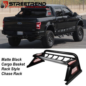 For 2007 2014 Silverado sierra Matte Black Truck Bed Chase Rack Basket Roll Bar