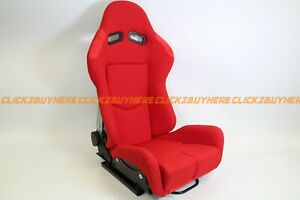 Bride Gias V1 Style Red Plain Cloth Single Reclining Racing Seat No Logo