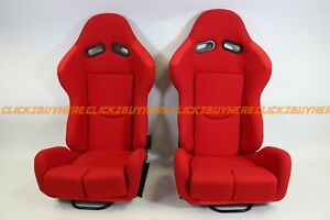 Bride Gias Styled Red Plain Cloth Reclining Racing Seat W Slider Pair No Logo