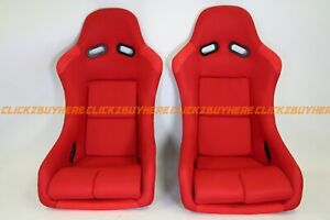 Bride Vios Styled Red Plain Cloth Racing Seat Pair No Logo