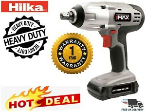 Hilka 24v Lithium Li Ion 1 2 Cordless Impact Wrench Ratchet Battery In Case