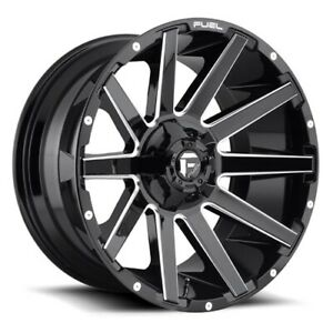 Set Of 4 Fuel Wheels D615 Contra 20x9 6x135 139 7 2 Gloss Black Milled