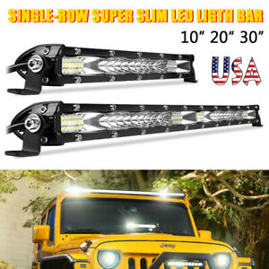 10 20 30 Inch Led Light Bar Spot Flood Combo Work Driving Offroad Atv Suv Us