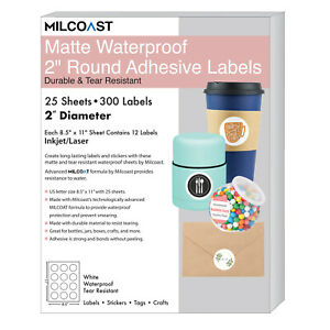Milcoast Matte Waterproof White 2 Round Circle Labels 300 Labels 25 Sheets