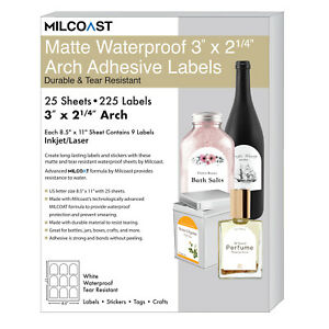 Milcoast Matte Waterproof White 3 X 2 1 4 Arch Labels 225 Labels 25 Sheets