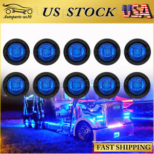 10x Round 3 4 Blue Led Clearance Marker Bullet Auto Truck Trailer Lights Lamp