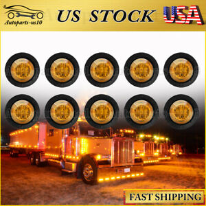 10x Amber 3 4 Clearance Marker Lights Diode Led Truck Trailer Indicator Lamp Us