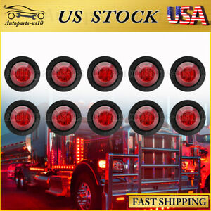10x 3 4 Round Red Led Clearance Bullet Marker Lights For Truck Rv Trailer Lamps