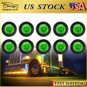 10pcs 3 4 Mini Green Led Clearance Lights Truck Sealed Marker Indicator Lamp