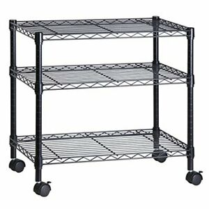 Honey can do 3 Shelf Portable Multimedia Cart Sturdy Steel Rolling Home Black