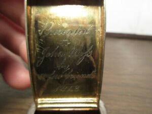 Antique English Hallmark Sterling Silver Hinged Snuff Box Engraved 1843