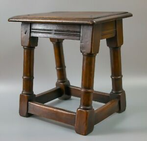 Antique 19th Century English Oak Pegged Joint Stool Side Beverage Table