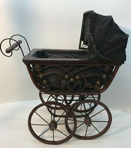 Vintage Wicker Wood Metal Victorian Baby Doll Buggy Carriage Stroller 23 Tall