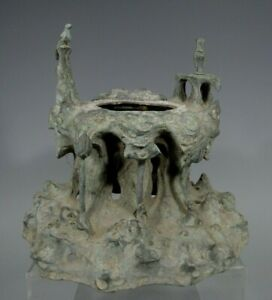 Japan Japanese Bronze Centerpiece W Lotus Avian Wave Decor Ca 18 19th C