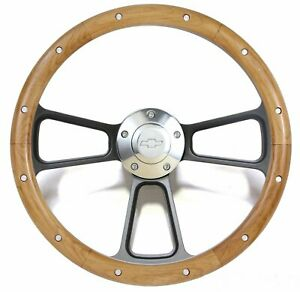 Chevelle El Camino Custom Wood Steering Wheel W Chevy Horn Adapter Full Kit