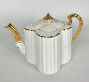 Wileman Alexandra Shape Rd 60650 White Gold Teapot Pot Lid Set