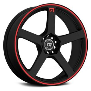 4 15 Mr116 15x6 5 Motegi Wheels Rims 4 Lug 4x100 4x114 3 Black Red Stripe