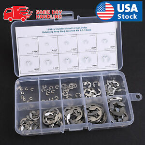 120pcs 304 Stainless Steel E clip Retaining Circlip Assortment Kit 1 5mm To 10mm