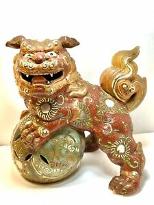 Antique Japanese Original Shishi Foo Dog Lion Kutani Glazed Porcelain Statue