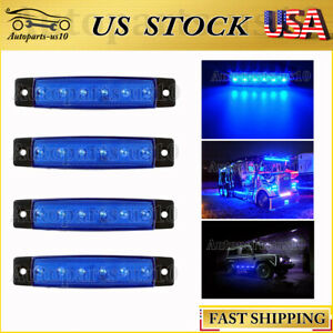 4x Blue 3 8 Thin Side Marker Light For Trailer Lorry Van Utility Strip Lights