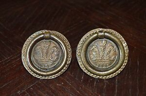 Antique Pair French Drawer Pulls Handles Bronze Ornate Beaded Edge Ring Pull