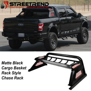 For 2007 2021 Toyota Tundra Matte Blk Truck Bed Mesh Chase Rack Basket Roll Bar