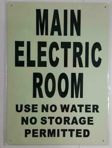 Main Electric Room Sign Glow In The Dark heavy Duty aluminum Sign ref0420