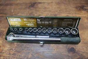 Sk S k Tools 1 2 Socket Set 16 Piece 7 16 1 1 4 Metal Box 12 Pt Set 4116