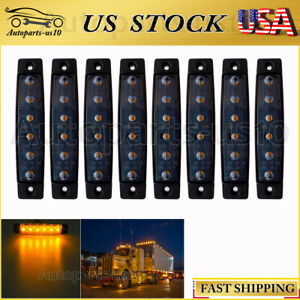 8x Smoked Lens 3 8 Led Marker Light For Trailer Truck Lorry Amber Side Lights