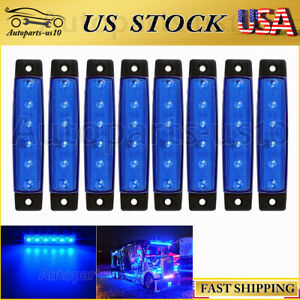 8x Blue 3 8 Led Side Marker Light For Trailer Truck Strip Indicator Lights Us