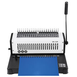 Steel Comb Coil Binding Machine A4 21 Holes Paper Puncher Office Steel Blade Us