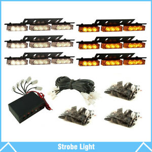 Amber white 54 Led Emergency Warning Strobe Lights Bars Deck Dash Grill Truck