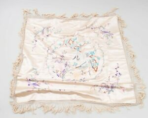 Antique Chinese Silk Embroidered Pastel Pink Fringed Piano Shawl Flowers