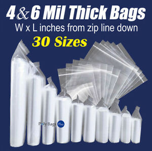 Plastic Reclosable Thick Zip 4 mil Heavy duty Zipper Top Seal Lock Bags