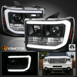 For Black 2007 2013 Gmc Sierra 1500 2500hd 3500hd Led Strip Projector Headlights Fits More Than One Vehicle