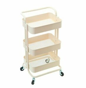Hollyhome 3 Tier Rolling Cart Metal Utility Handle Kitchen Shelf Rolling Beige