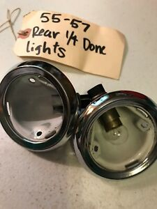 55 57 Chevy Belair Hardtop Rear Dome Lights Pair Used No Lenses
