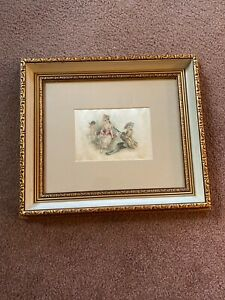Very Old Colorful Victorian Silk Picture Of Couple In Love In Modern Frame