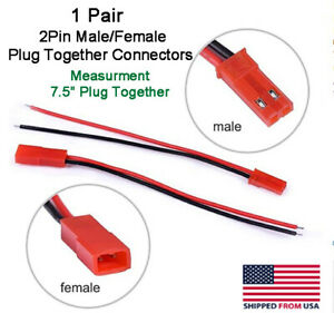 Jst 2pin Connector Male female Plug Cable Rc Lip Battery Led Lights 7 5 Long
