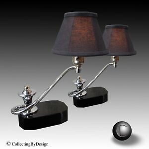 Pair Vtg 1930 S S Shaped Machine Age Art Deco Chrome Black Glass Lamps