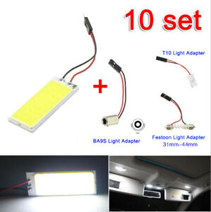 10x 12v Xenon Hid White 36 Cob Led Dome Map Light Bulb Car Interior Panel Lamp