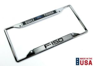 License Plate Frame Chrome W Build Ford Tough Script Logo For F 150