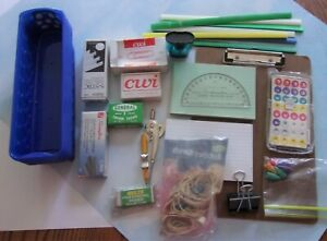 Lot Misc Office Supplies Staples Paperclips Index Cards Clipboard Rubberbands