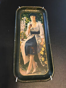 Vintage 1973 Coca Cola Tray Repro of 1921 Tray - Lady Blue Dress w/ Wall Hanger