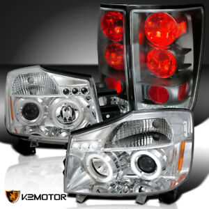 Fit 2004 2015 Nissan Titan Clear Led Halo Projector Headlights black Tail Lamps