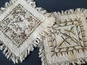 Pair Of 18th Century Continental Needlework Tambour Embroidery Handkerchiefs Han