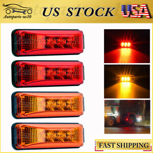 Us Shipping 2red 2amber 3 9 Led Side Marker Indicator Lights For Trailer Truck