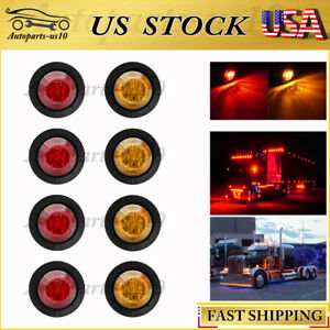 8x 3 4 12v Marker Lights Led Auto Truck Trailer Side Clearence Light Amber Red