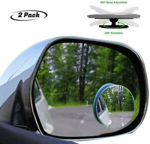 Pair Car Mirror Blind Spot Mirror Wide Angle Round Convex 360 Degree For Parking